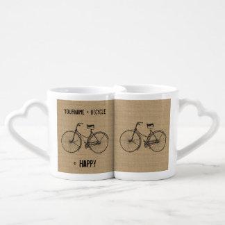 You Plus Bicycle Equals Happy Natural Burlap Sack Couples Mug