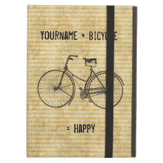 You Plus Bicycle Equals Happy Vintage Bike Yellow iPad Air Case