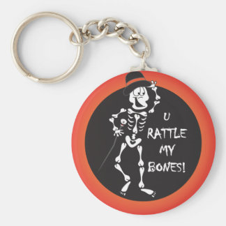 You Rattle my Bones Funny Halloween Basic Round Button Key Ring