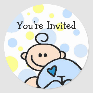 You re Invited OH BOY Round Stickers
