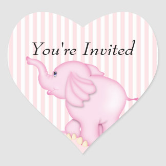 You re Invited Pink Elephant Baby Shower Heart Stickers