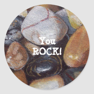 """YOU ROCK!"" Stickers: Artwork: Realism: Stones Classic Round Sticker"