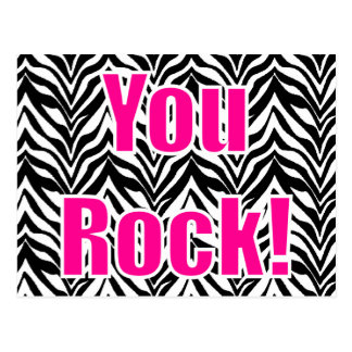 You Rock! Zebra Print Postcard