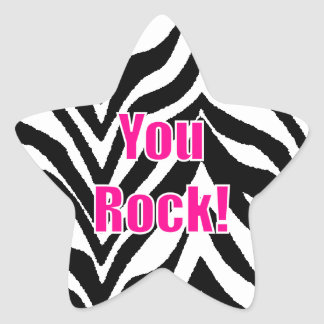 You Rock! Zebra Print Star Star Sticker