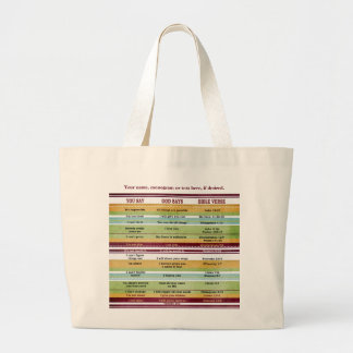 """You Say/God Says"" Inspirational Bible Verses Large Tote Bag"