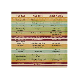 """You Say/God Says"" Inspirational Bible Verses Wood Prints"