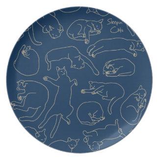 < You sleep, the cat (beige) > Sleeping cat Dinner Plate