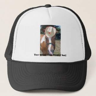 You wear this stupid hat! trucker hat