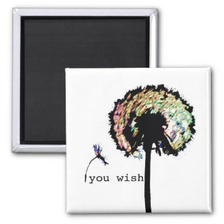 You Wish Dandelion Magnet, Color Square Magnet