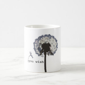 You Wish Dandelion Mug, Blue Coffee Mug