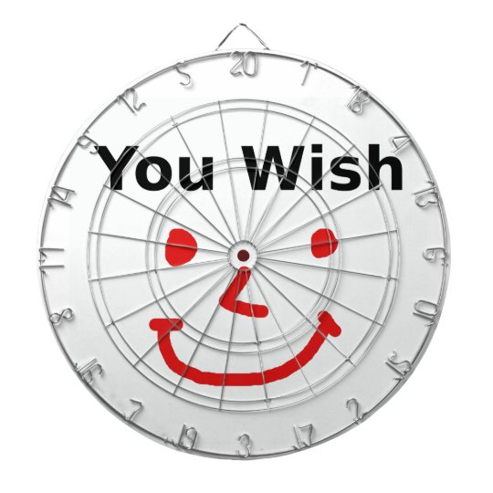 """You Wish"" With Red Smiley Face Dartboard"