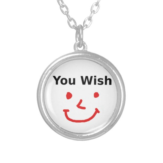 """""""You Wish"""" With Red Smiley Face Silver Plated Necklace"""