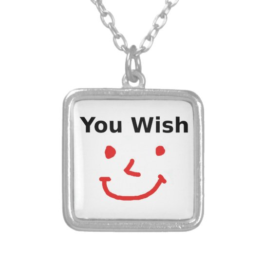 """You Wish"" With Red Smiley Face Silver Plated Necklace"