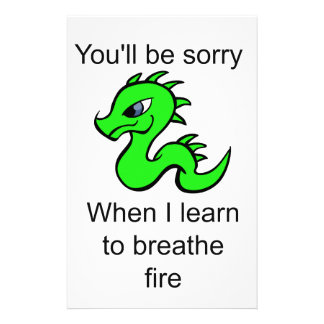 Youll be sorry - baby dragon stationery