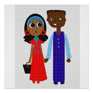 Young African American Couple Poster