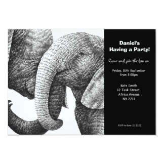 Young African Elephants Party Invitation