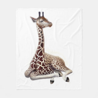 Young African Giraffe at Rest Fleece Blanket