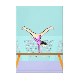 Young artistic gymnastics in the balance bar canvas print