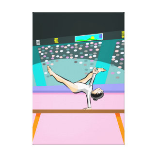 Young artistic gymnastics working in the bar canvas print