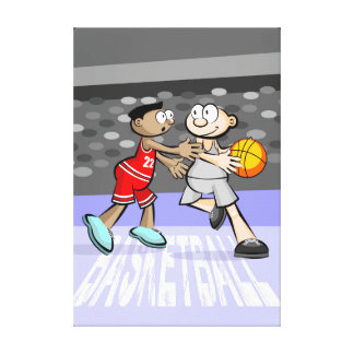 Young basketball amuses play in the heat of canvas print