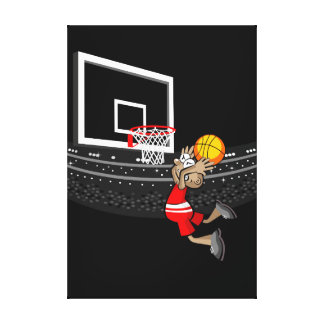 Young basketball player jumping to make a goal canvas print