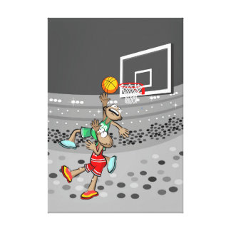 Young basketball sends the ball to the hoop canvas print