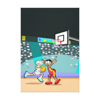 Young basketball trying to cover the hoop canvas print