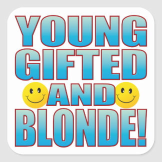 Young Blonde Life B Square Sticker