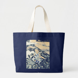 Young blue stock market with flowers large tote bag