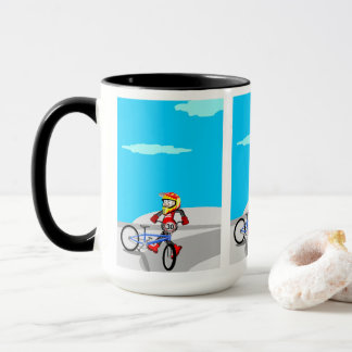 Young BMX being born pirouettes with its bicycle Mug
