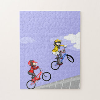 Young BMX cycling in the heat of competitive jump Jigsaw Puzzle