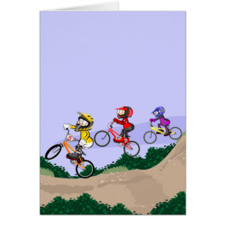 Young BMX cycling lowering the hill with style Card