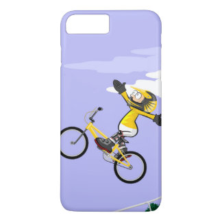 Young BMX flies with their yellow bicycle iPhone 8 Plus/7 Plus Case