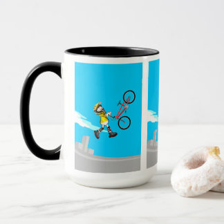 Young BMX flying by the air with its bicycle Mug