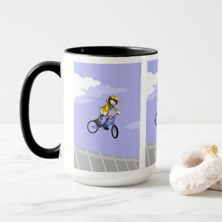 Young BMX giving a jump to all adrenalin Mug