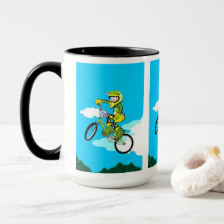 Young BMX in its bicycle doing a pirouette Mug