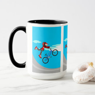 Young BMX in its bicycle flying by the air Mug