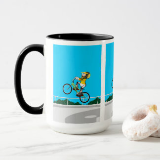 Young BMX in its bicycle taking impulse Mug