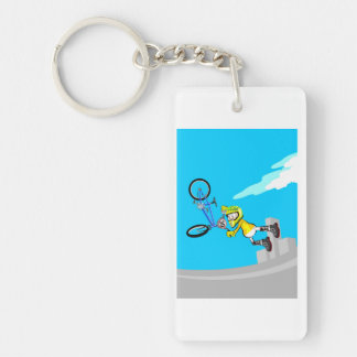 Young BMX in the air taken hold of its bicycle Key Ring