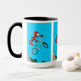 Young BMX of the red equipment making a pirouette Mug