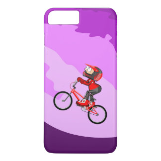 Young BMX of the red equipment raising the hill iPhone 8 Plus/7 Plus Case