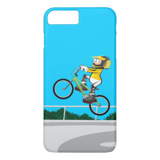 Young BMX taking impulse with its bicycle iPhone 8 Plus/7 Plus Case