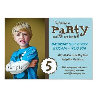 Young Boy Photo Brown Blue Birthday Party 9 Cm X 13 Cm Invitation Card