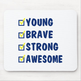 Young brave strong awesome mouse pad