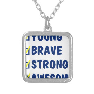 Young brave strong awesome silver plated necklace