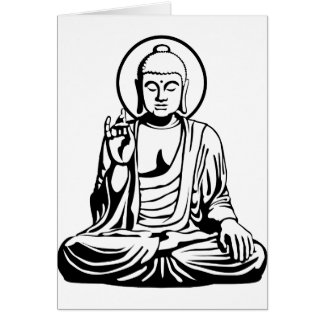 Young Buddha No.1 (black white) Greeting Card