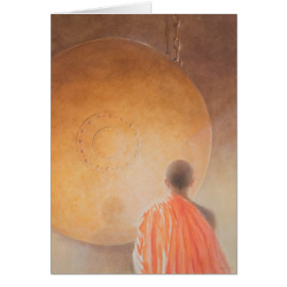 Young Buddhist Monk and Gong Bhutan 2010 Card