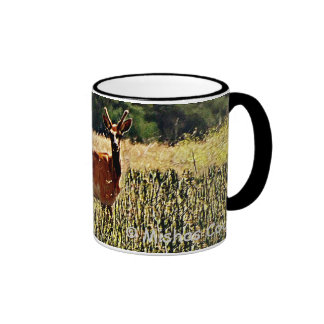 Young Bull Elk Ringer Coffee Mug