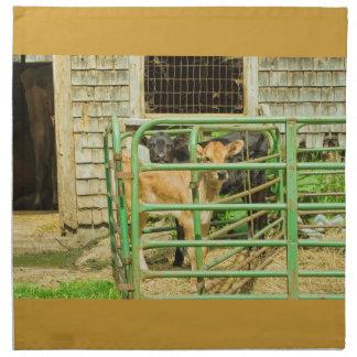 Young Calf In Fence Pen Near Barn Printed Napkin