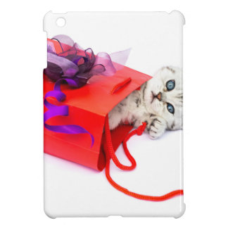 Young cat lying in red bag with decoration iPad mini cases